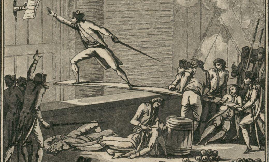 Le brave Maillard va chercher sur une planche suspendue au-dessus du fossé de la Bastille, les propositions des assiégés